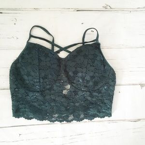 Bozzolo Green Lace Bralette Size Medium